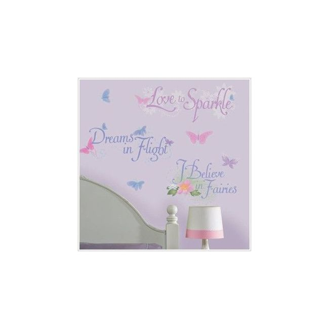 RoomMates Disney Fairies Phrases Wall Decals with Glitter