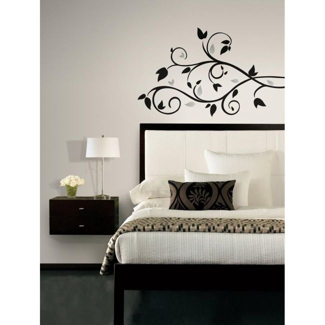 RoomMates Black Scroll Branch Wall Decals with Foil Leaves