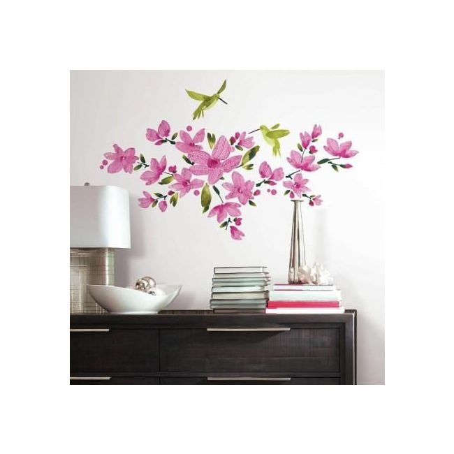 Room Mates Decals Pink Flowering Vine Wall Decal
