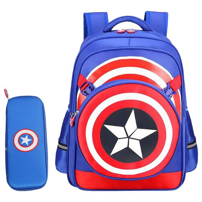 Sambox Captain A School Bag With Pencil Case And Lunch Bag - Blue