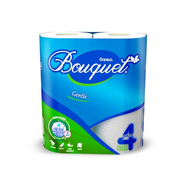 Sanita Bouquet Toilet Tissue Plain-Pack Of 4 Rolls ,2 Ply