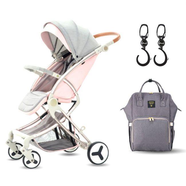 Teknum A1 Pink Stroller with Sunveno Grey Diaper Bag