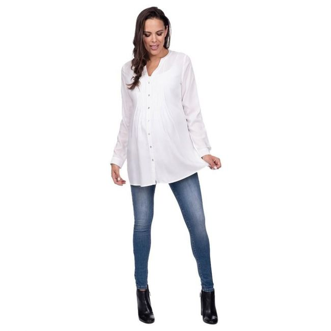 Seraphine Fern Pleated Blouse - Ivory
