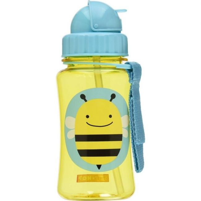 SkipHop Zoo Kid's Straw Water Bottle, Bee