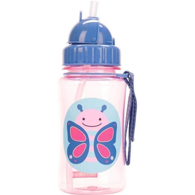 SkipHop Zoo Kid's Straw Water Bottle, Butterfly