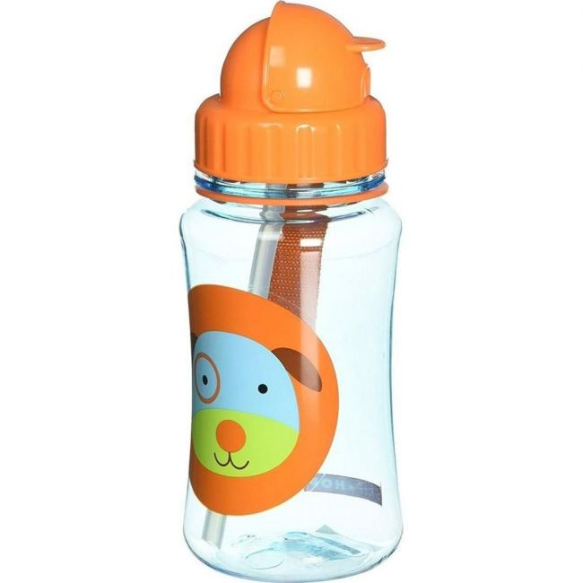 SkipHop Zoo Kid's Straw Water Bottle, Dog