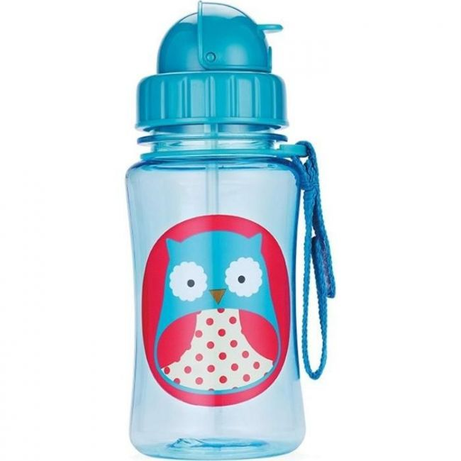 SkipHop Zoo Kid's Straw Water Bottle, Owl