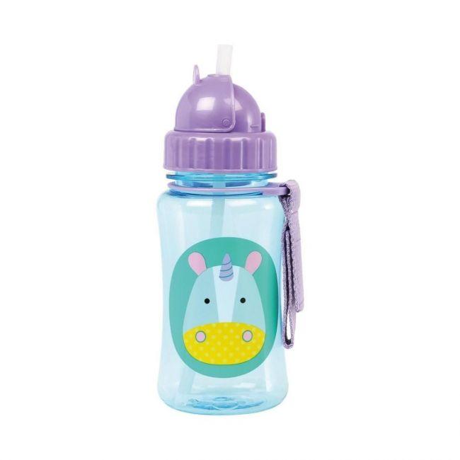 SkipHop Zoo Kid's Straw Water Bottle, Unicorn
