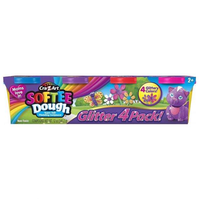 Softee - Dough Glitter 4 Pack 3 Oz Tubs