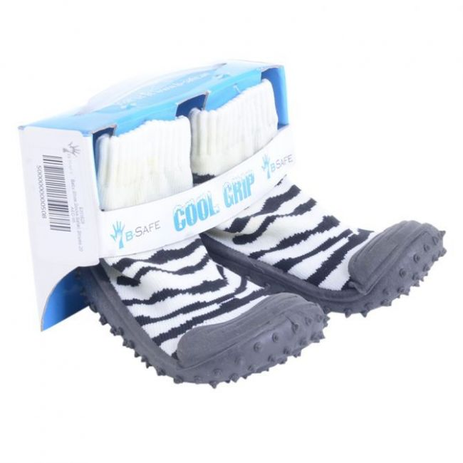 Cool Grip Black/White Baby Shoe Socks Safari Stripes