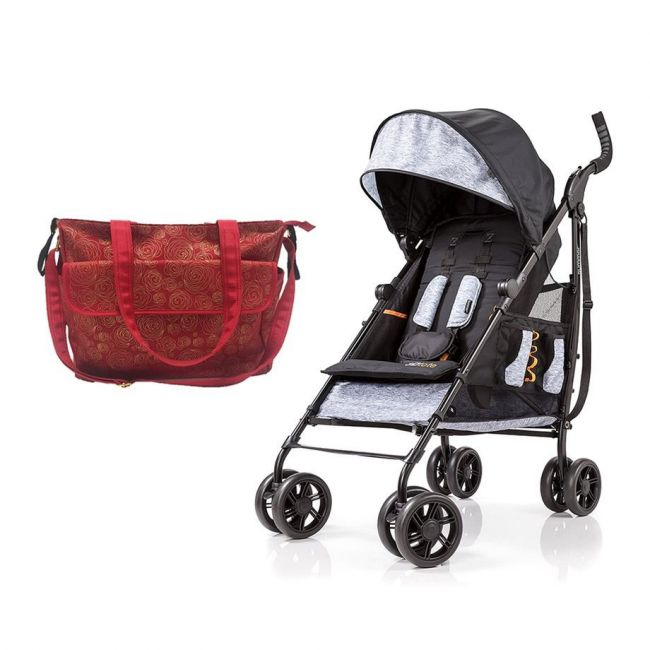 Summer Infant - Messenger Changing Bag Red Gold swirl + 3D Tote Convenience Stroller Heather Grey Combo