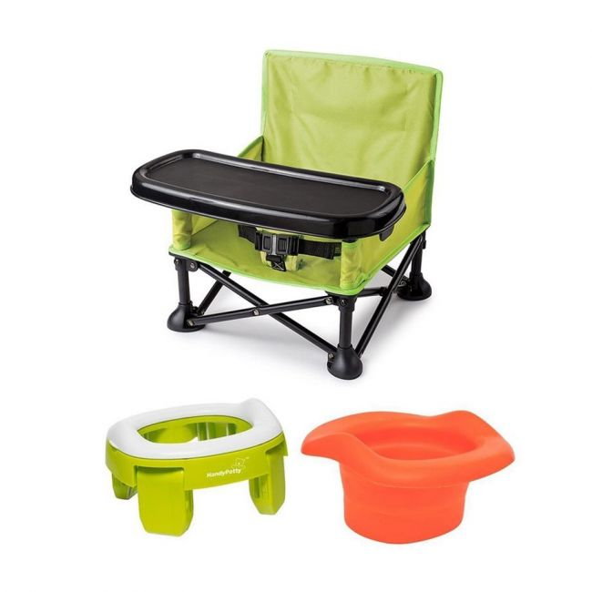 Summer Infant - Pop N Sit Portable Booster Green + Roxy Kids Green Handy Potty Re Usable Liner Combo