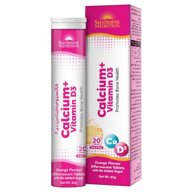 Sunshine Nutrition - Calcium + Vitamin D3 Effervescent 20 Tablets