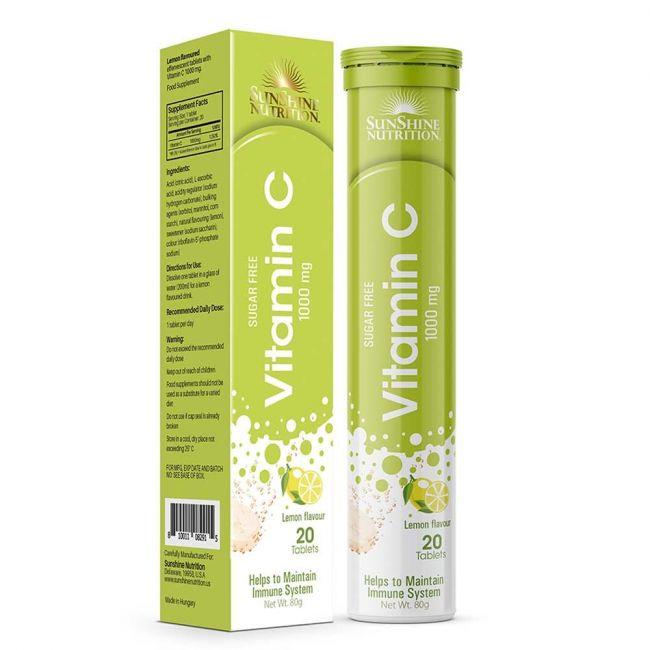 Sunshine Nutrition - Vitamin C 1000Mg Effervescent Lemon 20s Tablets