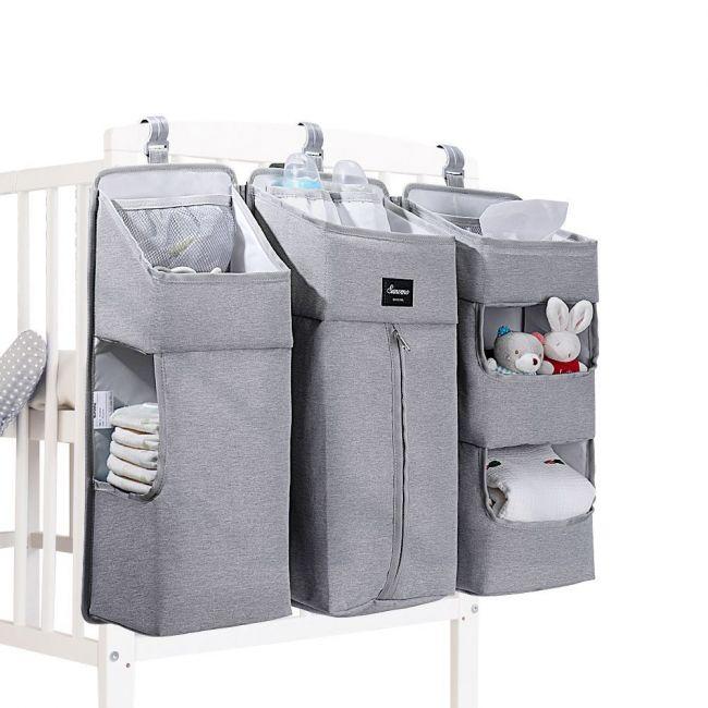 Sunveno - Baby Bedside Portable Crib Organizer - Grey
