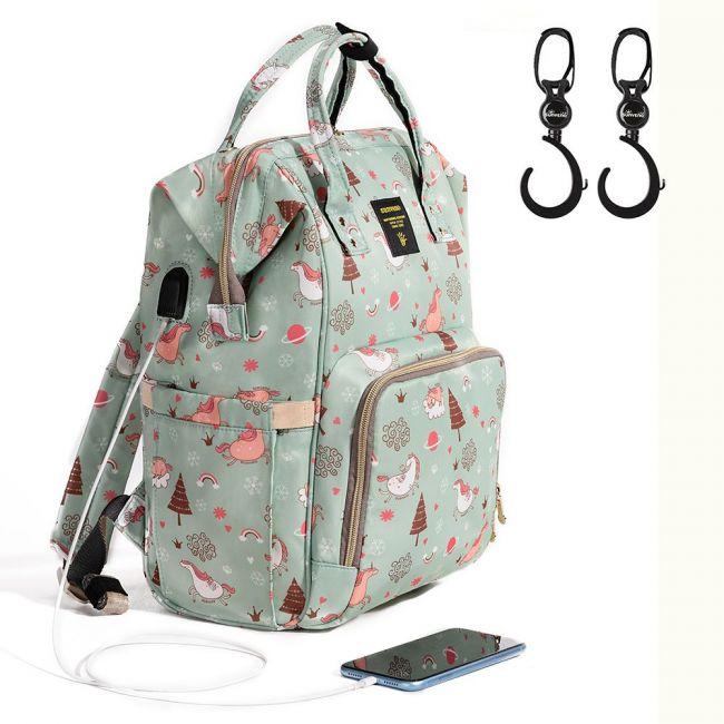 Sunveno - Diaper Bag with USB - Green Dream Sky + Hooks