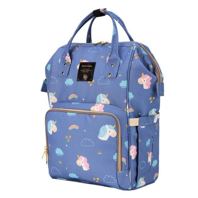 Sunveno - Diaper Bag with USB - Unicorn Blue + Hooks