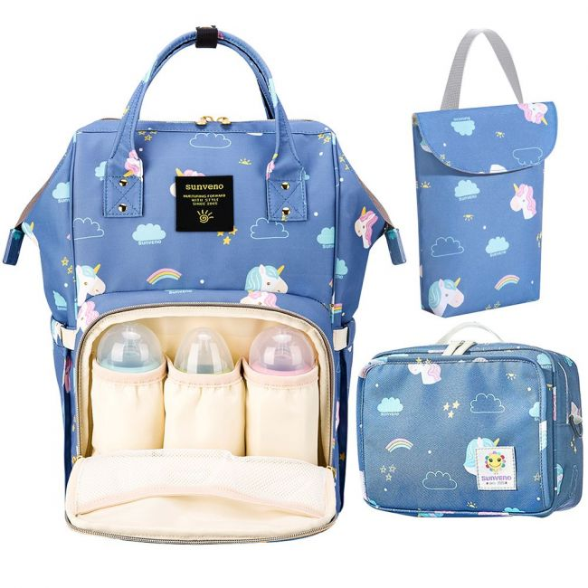 Sunveno - Diaper Travel Kit - Unicorn  Blue