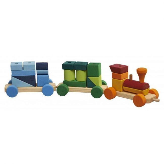 Glukskafer Wooden Coloured Shapes Train 25pcs