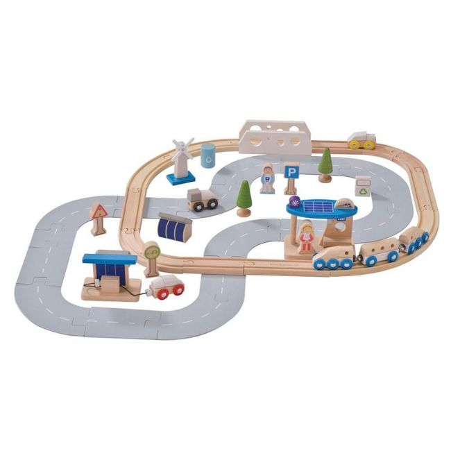 EverEarth Eco City Train Set Wooden Toy