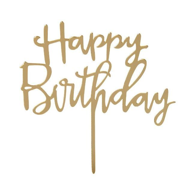 Talking Tables - Luxe Happy Birthday Acrylic Gold Cake Topper