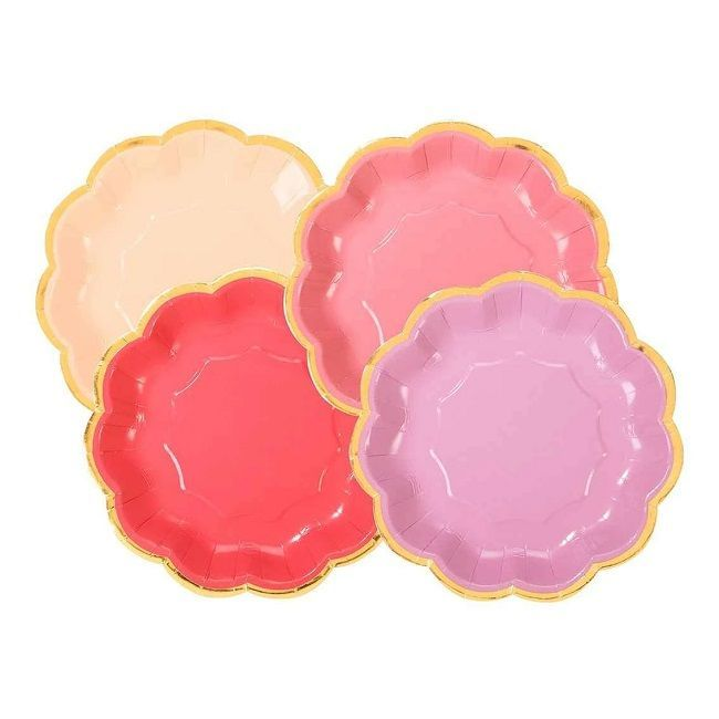 Talking Tables - Riotous Rose Scalloped Paper Plates