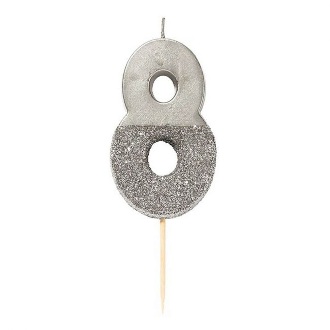 Talking Tables - Silver Glitter Number Candle 8
