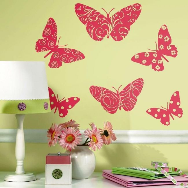Room Mates Butterfly Flock Wall Decal