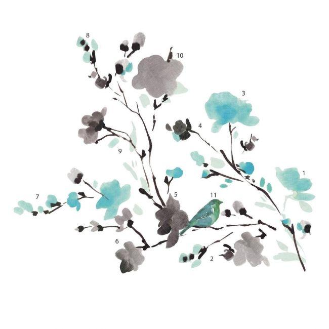 Room mates Blossom Watercolor Bird Branch
