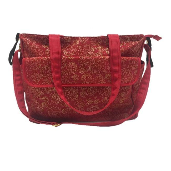 Summer Infant, Red/Gold Swirl Messenger Changing Bag
