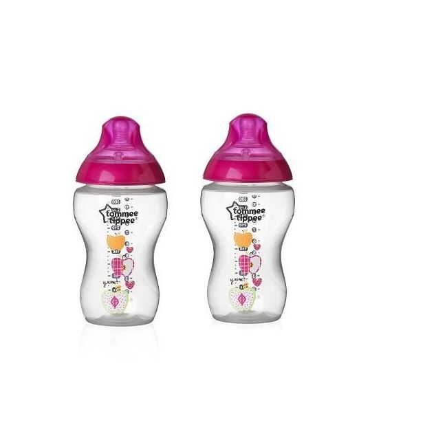 Tommee Tippee Closer to Nature  -Pink PP -  Feeding Bottle 2x 340ml
