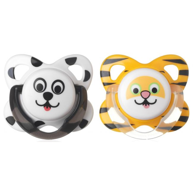 Tommee Tippee-YellowBlack Essentials Funky Face Soother, 6-8m