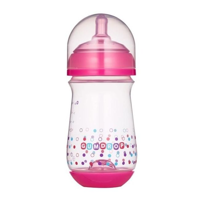 The First Years Pink Gum-Drop 8oz Wide Neck Bottle