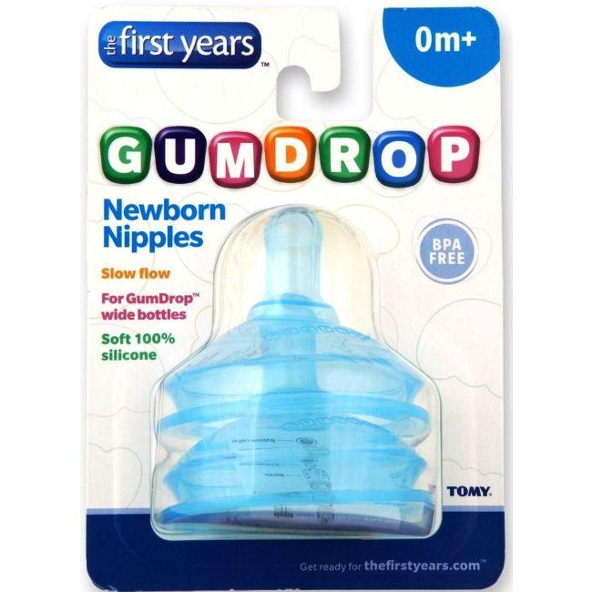 The First Years Gumdrop Wide Slow Flow Nipples 2 Pack Boy