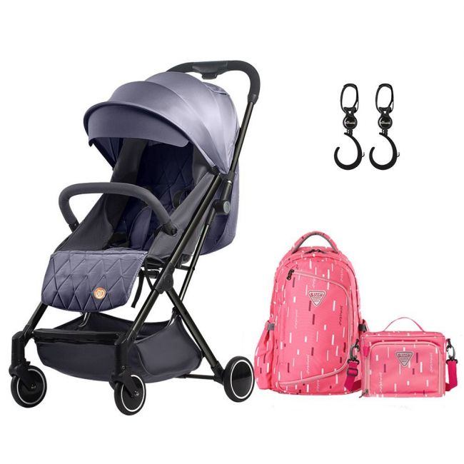 Teknum Travel Lite Stroller Sld Dark Grey with Sunveno 2In1 Diaper Bags & Stoller Hook