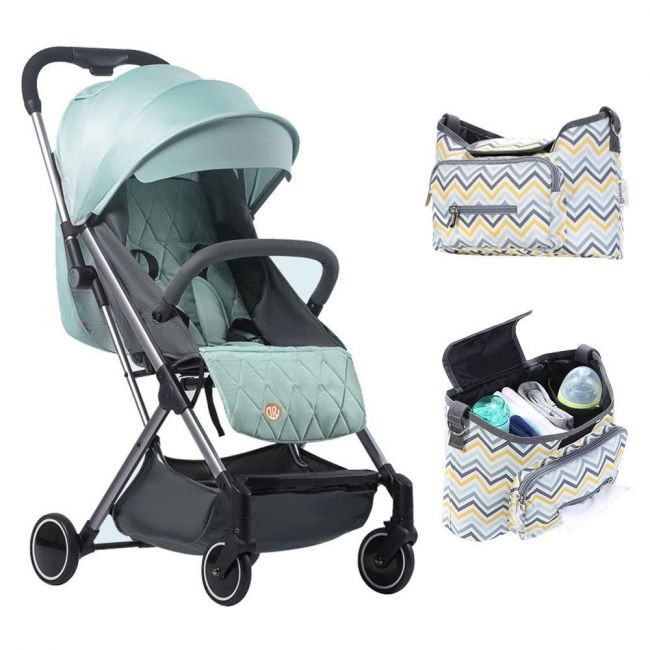 Teknum Travel Lite Stroller Sld - Peppermint Green with Sunveno Yellow Wave Stroller Diaper Bag