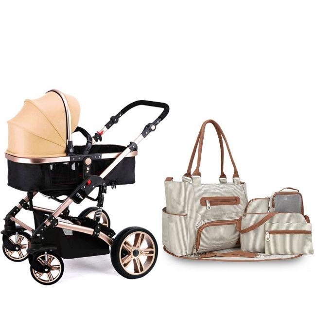 Teknum - 3 in 1 Story Pram Stroller and Diaper Bag Bundle - Khaki