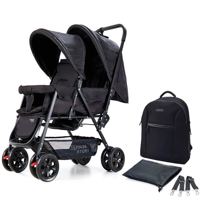 Teknum Twin Baby Stroller Combo - Black