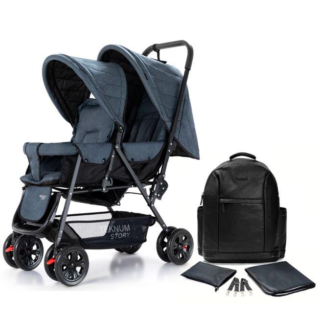 Teknum Twin Baby Stroller Combo - Grey