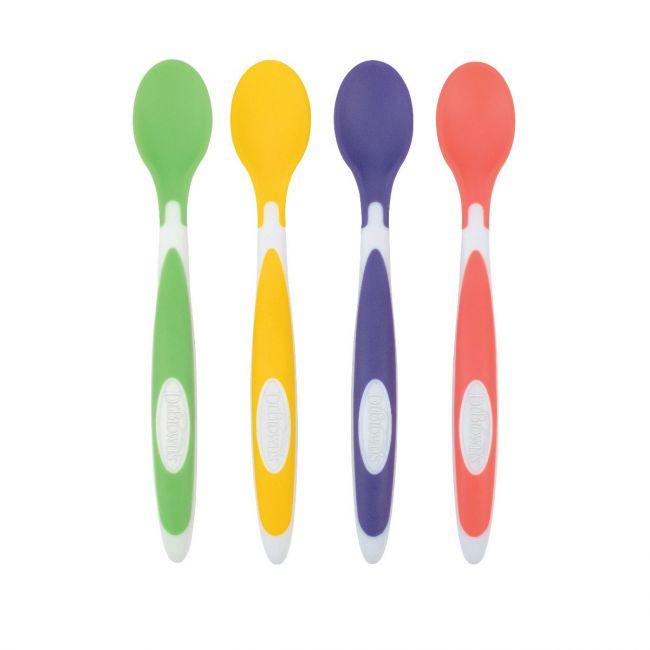 DrBrowns - Soft-Tip Spoon, 4-Pack (Yellow, Green, Purple, Red)