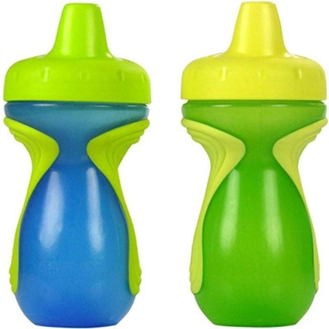 The First Years Blue Green Gripper Sipper Non-Insulated Spill-Proof Sippy Cups - 9oz - 2pcs