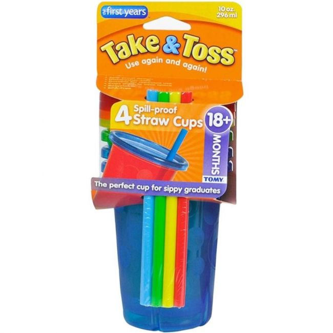 The First Years Take & Toss - Straw Sippers 4 Value Pack