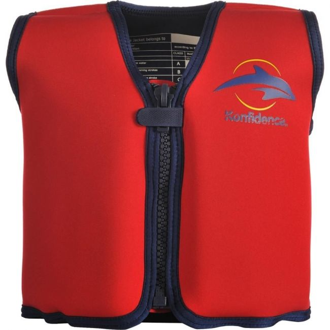 Konfidence - Children's Swim Jacket with Removeable Floats - Red/Yellow