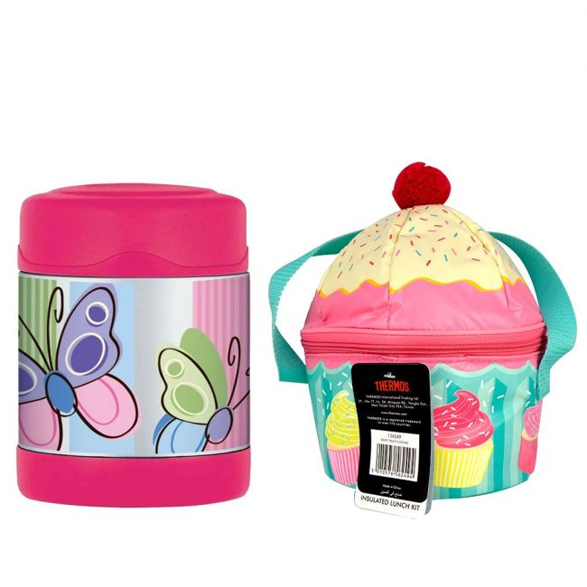 Thermos - Kids School Lunch Bag Sweet Treats Cup Cake + Thermos - Funtainer Stainless Steel Food Jar Butterfly 290 Ml Combo