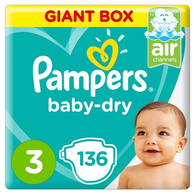 Pampers - Baby-Dry Diapers, Size 3, Midi, 6-10 Kg - 136 Count