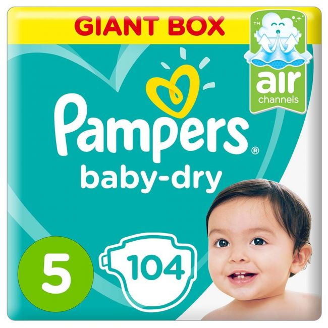 Pampers - Baby-Dry Diapers, Size 5, Junior, 11-16 kg, Giant Box - 104 Count