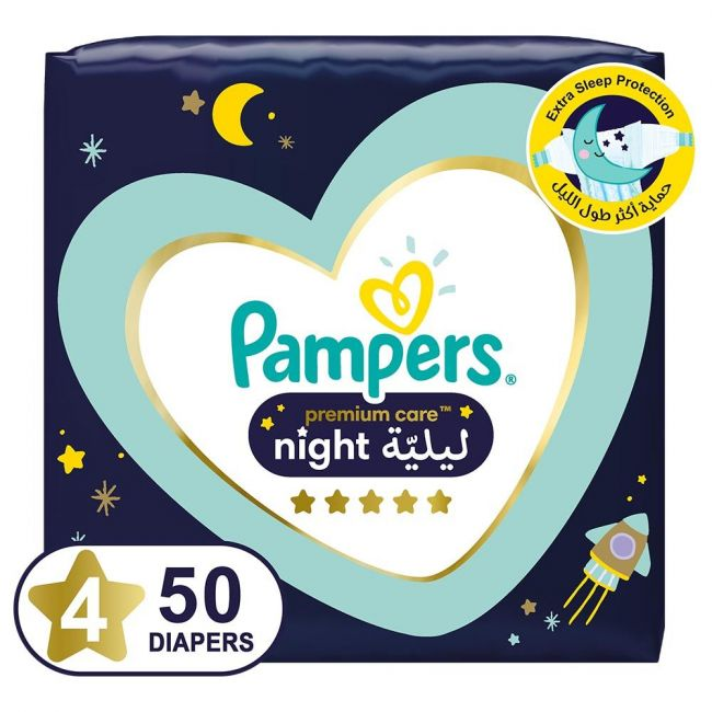 Pampers - Premium Care Night Diapers, size 4, 10-15 Kg - 50 count