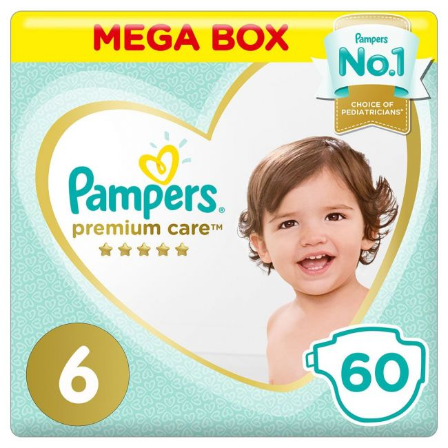 Pampers - Premium Care Diapers, Size 6, 13+Kg - 60 Count