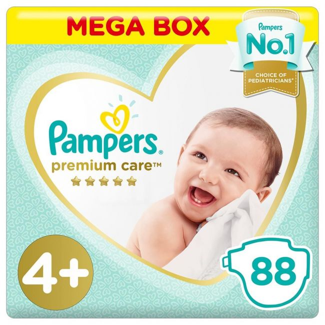 Pampers - Premium Care Diapers, Size 4+, Mega Box - 88 Pieces