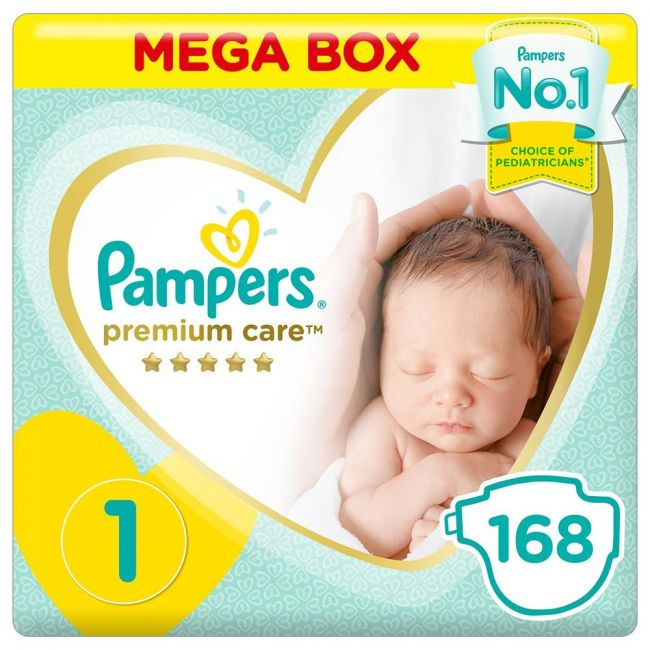 Pampers - Premium Care Diapers, Size 1, 2-5 Kg - 168 Count
